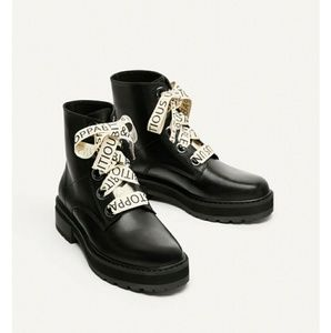 New Zara Leather Letter strings Ankle Boots